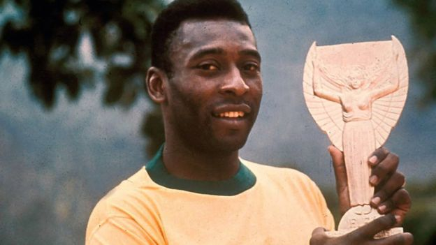 Pele with World Cup trophy in1970