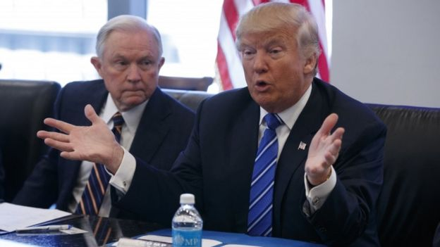 Jeff Sessions and Donald Trump during a national security meeting