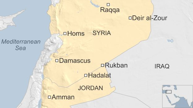 Map showing locations of Rukban and Hadalat