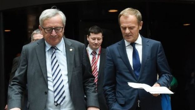 EU Commission President Jean-Claude Juncker (left) and EU Council President Donald Tusk (right) at an EU Summit meeting in Brussels (29 June 2016)