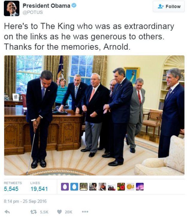 Tweet from Barack Obama reading: