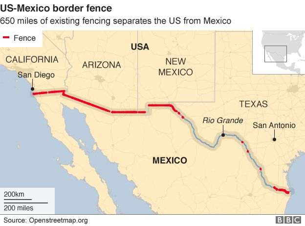 Map showing where there is already a fence between the US and Mexico border