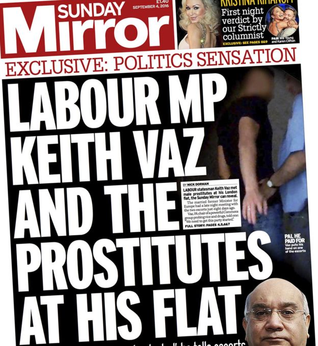 Front page of Sunday Mirror featuring story about Keith Vaz