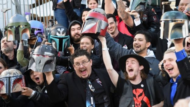 Fans attend the Star Wars premiere in Los Angeles