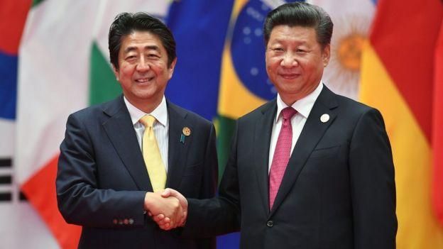 Shenzo Abe y Xi Jinping