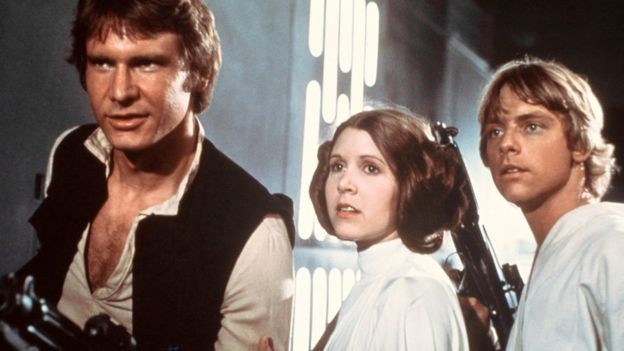Harrison Ford, Carrie Fisher, and Mark Hamill in the original Star Wars film