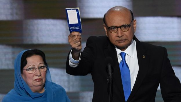 Khizr Khan spoke out against Mr Trump's policies at the Democratic National Convention