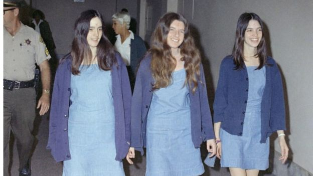 Susan Atkins, Patricia Krenwinkel and Leslie Van Houten in a Los Angeles court, 20 August 1970
