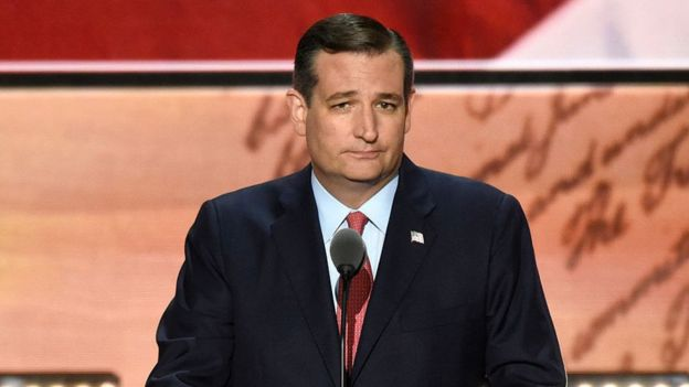 Ted Cruz frowns during his speech at the Republican National Convention.