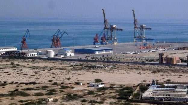 Vista aérea del puerto de Gwadar.