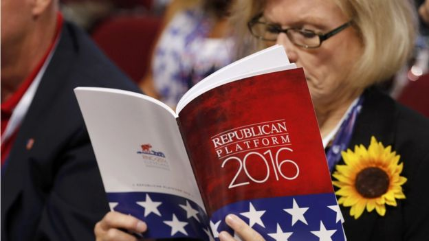 Woman reads the Republican party platform