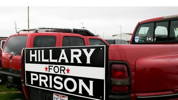 A Hillary For Prison sign is attached to a pickup truck at a rally held by Republican presidential nominee Donald Trump on October 27, 2016 in Springfield, Ohio.