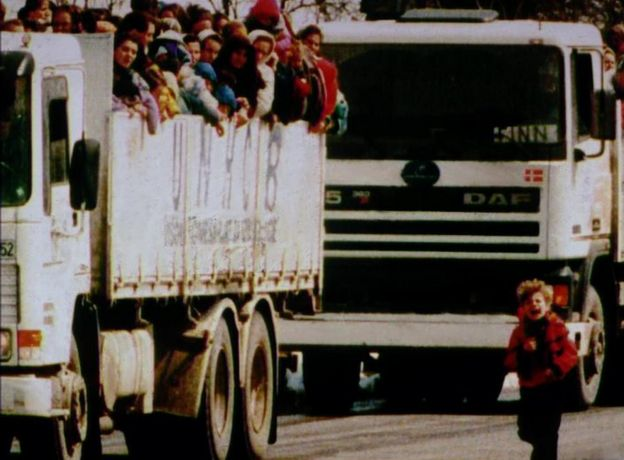UN lorries carry refugees from Srebrenica on 31 March 1993