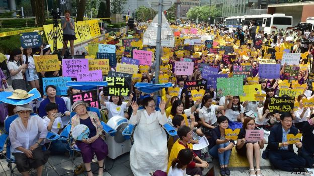 'Comfort women' protest in Seoul, South Korea (12 Aug 2015)
