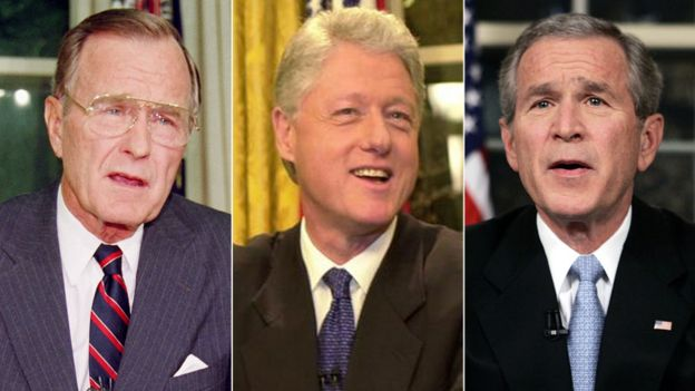 President Bush, Clinton and George W Bush in a composite image