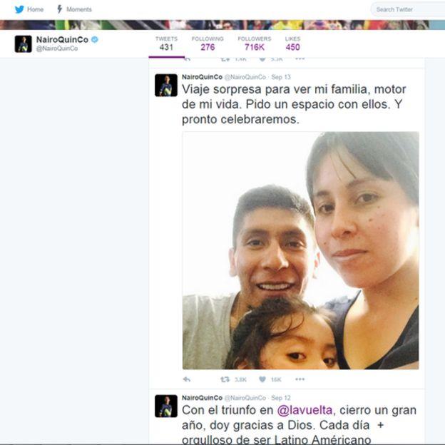 Foto de Nairo Quintana con su esposa y su hija