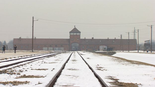 The train tracks leading to the main entrance of the Auschwitz-Birkenau concentration camp