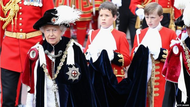 Queen Elizabeth II attends the Order of the Garter Service at St George's Chapel at Windsor Castle on June 15, 2015 in Windsor, England.