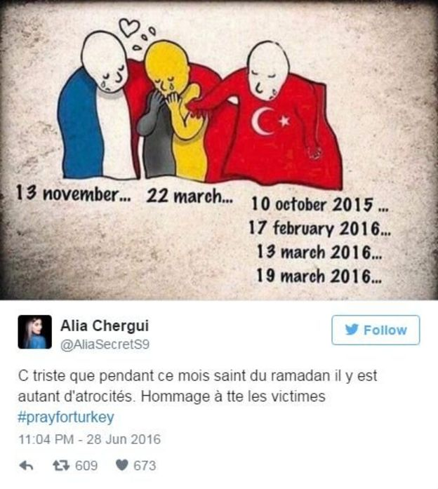 An image of a figure in the French colours with the date of a recent terrorist attack hugging a Belgium character with the date of a March terrorist attack who is also being hugged by a Turkish character under which there are the dates of four recent terrorist attacks.