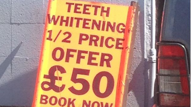 The sign outside Simply Chic offering teeth whitening
