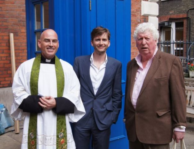 The Reverend Simon Grigg with David Tenant and Tom Baker