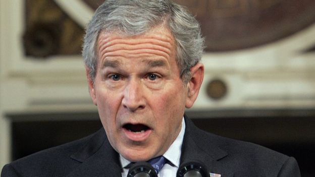 George W Bush speaks during a press conference, 20 December 2006