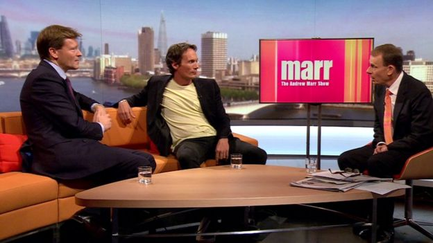 Richard Tice (l) and Richard Reed (r) on the Andrew Marr show