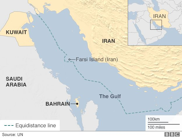 A map showing Farsi Island in the Gulf