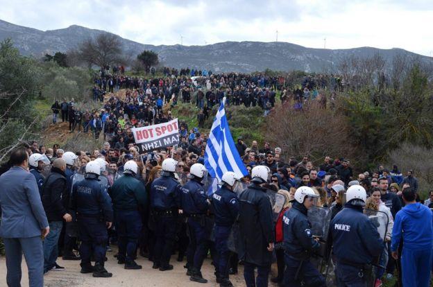 Kos protest, 14 Feb 16