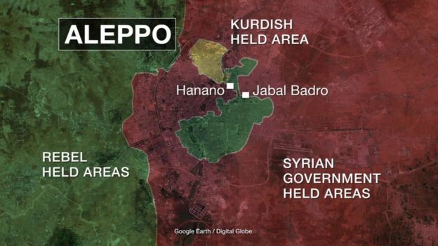 Map of areas rebel-held and government controlled areas in Aleppo