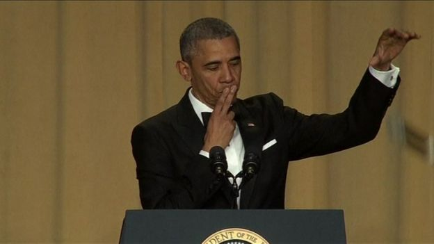 US President Barack Obama dropping microphone during White House Correspondents' dinner - 30 April 2016