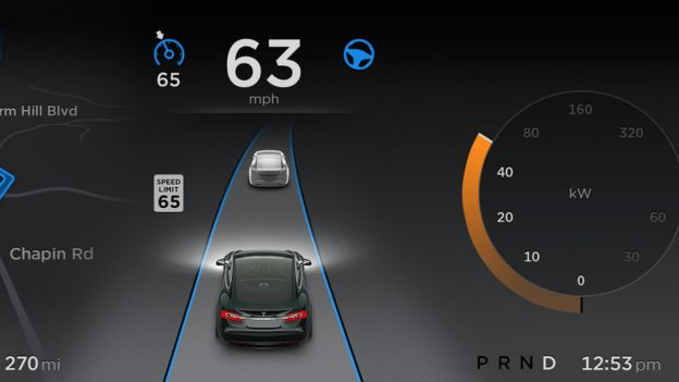 The autopilot mode combines sensors, cameras and mapping data to work out the car's position.