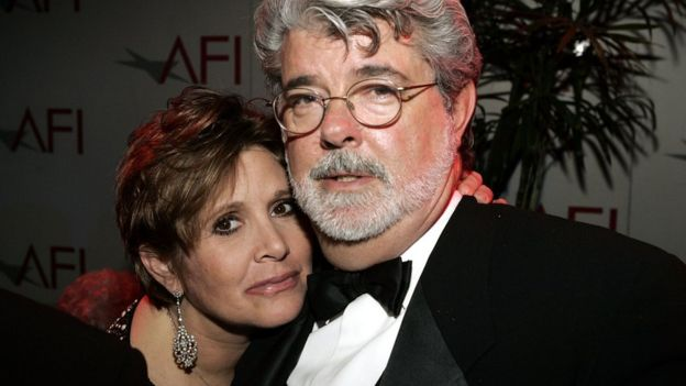 Carrie Fisher y George Lucas.