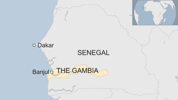 Map of The Gambia and Senegal