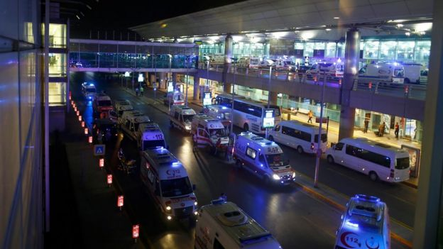 Ambulances arrive at Turkey's largest airport, Istanbul Ataturk, Turkey, following a blast June 28, 2016