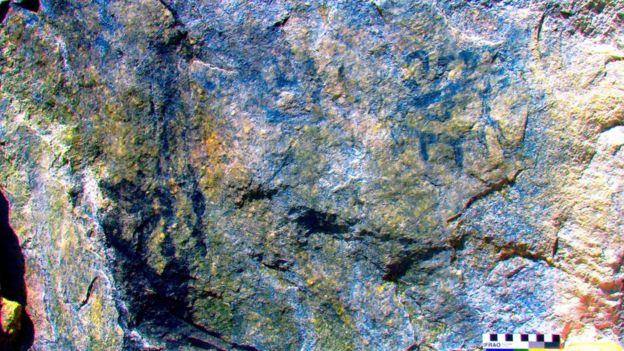 Pintura rupestre hallada en Machu Picchu