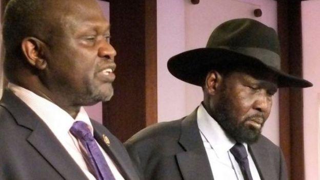 Salva Kiir (der) y Riek Machar (izq)