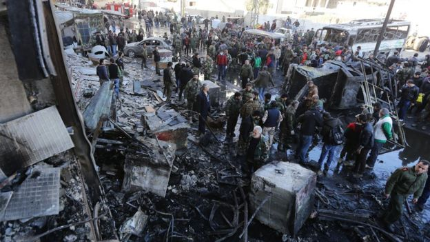 Site of multiple bombings near the Sayyida Zeinab shrine south-east of Damascus on Sunday