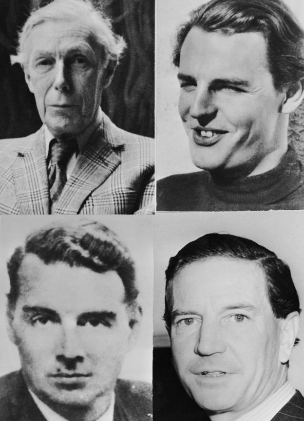 The Cambridge Spies - clockwise from top left Anthony Blunt, Donald Duart Maclean, Kim Philby and Guy Burgess