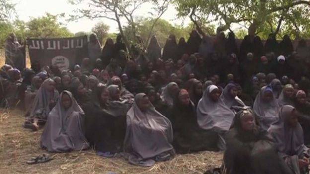 The Chibok girls in a Boko Haram video released in May 2014