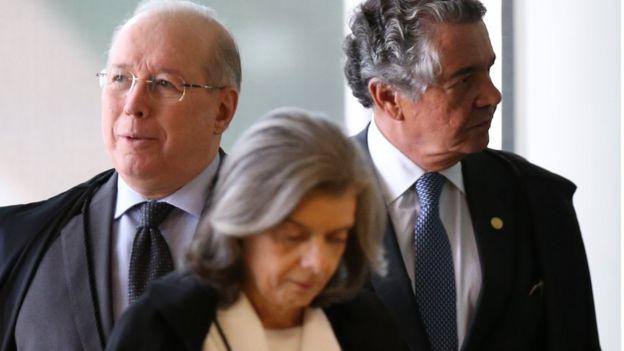 Ministros Celso de Mello, Cármen Lúcia e Luiz Fux