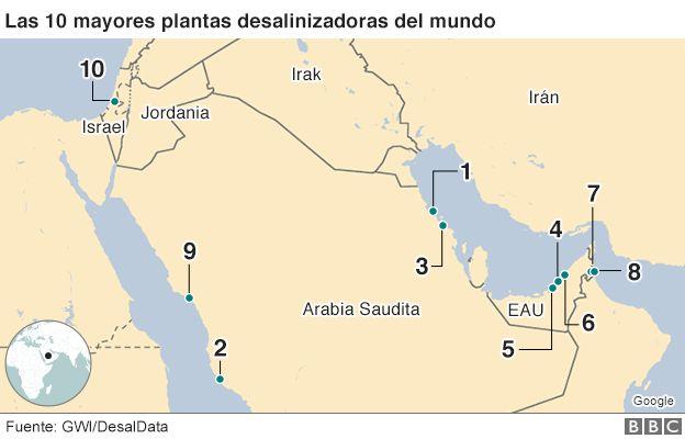 Mapa de las 10 mayores plantas desalinizadoras del mundo