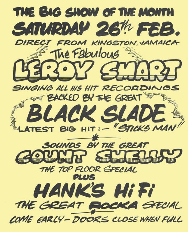 Flyer for a Leroy Smart concert at the Bamboo Club, 25 Feb 1977