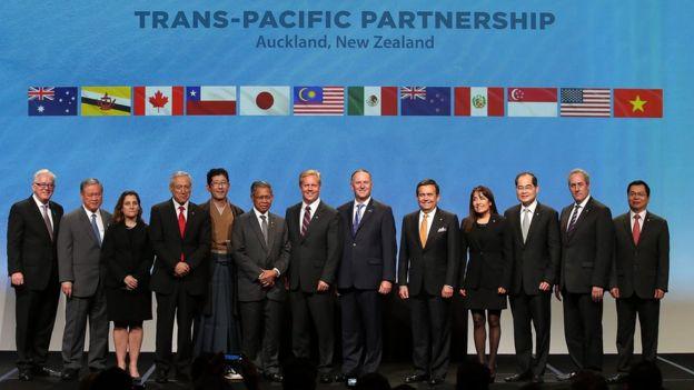 Representantes de los 12 países signatarios del TPP.