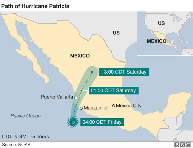 Map of Hurricane Patricia's path