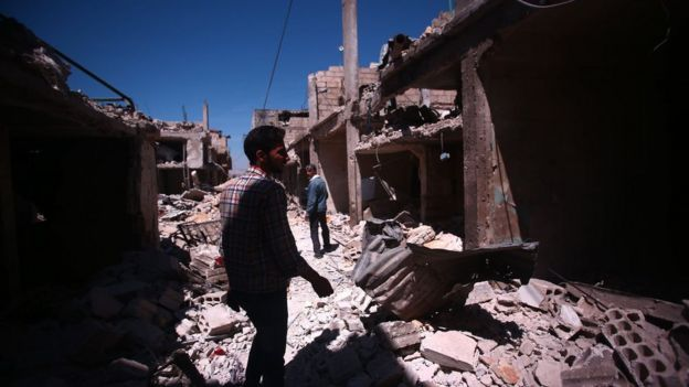 Airstrike by forces loyal to Syrian President Bashar Assad targeted Deir al-Asafir district southeast of Damascus on 31 March, leaving at least 30 people killed