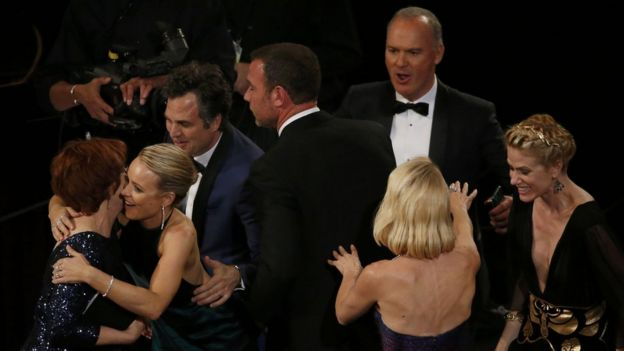 The cast of Spotlight reacting after the film won the best picture Oscar