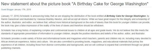 Scholastic's statement on A Birthday Cake for George Washington