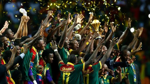Cameroon players celebrate winning the continental trophy