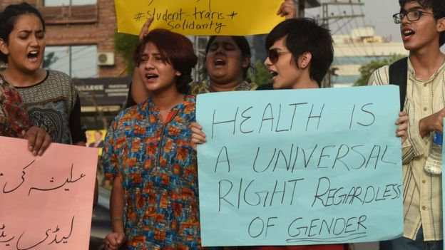 Pakistani eunuchs and their supporters protest in the wake of the killing of transgender female Alisha